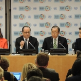 Segolene Royal, President of France Francois Hollande, Ban Ki-Moon, Christiana Figueres