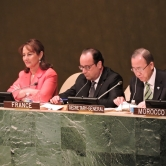 Segolene Royal (COP21), President of France Francois Hollande, and UN Secretary General Ban Ki-Moon