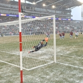 Penalty save in the snow