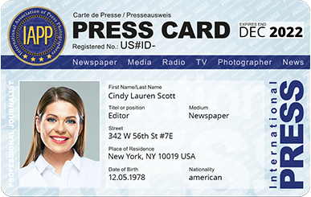 Press Card, International Press Card, Press Pass ID, Press